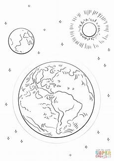 earth moon and sun coloring page free printable