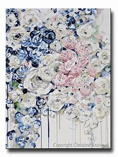 paintings for home decor original abstract painting floral navy blue white pink