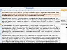 worksheet change event event procedures in excel vba youtube