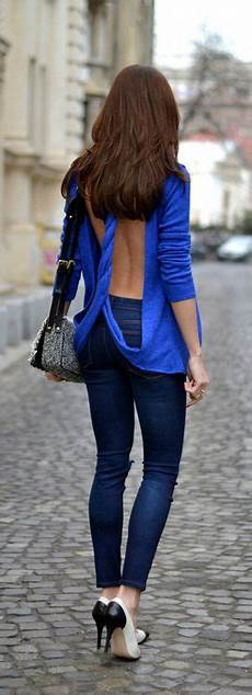 just a pretty style latest fashion trends street style backless twisted blue royal sweater