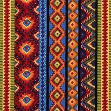 Indianische Muster Malvorlagen Englisch Streifen Muster Stoff Rot Orange Blau Robert Kaufman