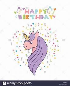 happy birthday card with unicorn icon white