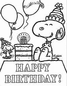 snoopy happy birthday quote coloring page with images