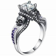 purple skull ring wedding jewelry unique gift