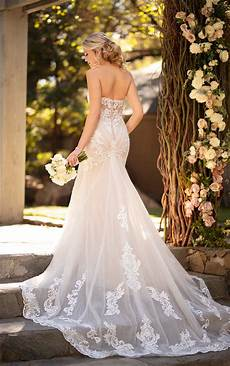 strapless sweetheart fit and flare wedding dress with graphic lace