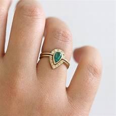 emerald bridal wedding ring with pave diamonds artemer