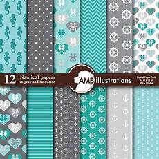 nautical digital papers in turquoise and grey coastal