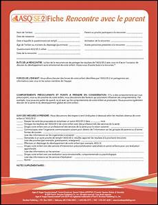 asq se 2 parent conference sheet in french ages and stages