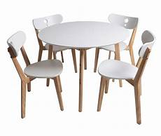Ensemble 1 Table Et 4 Chaise Blanc Laqu 233 Et Bois Naturel
