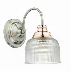 satin chrome and copper wall light with prismatic glass shade