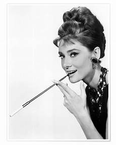 hepburn with cigarette holder posters and prints
