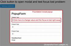 foundation6 reveal popup form field focus lost in jquery events stack overflow
