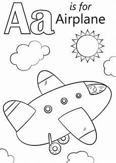 letter a is for airplane coloring page free printable