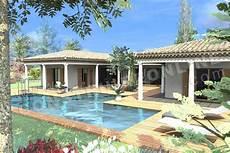 garage de la piscine maison plain pied en u avec piscine