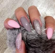 Pink Grey Glitter Nails Nails Rosa Graue N 228 Gel