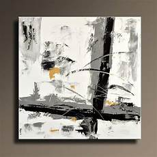 Tableau Abstrait Noir Blanc Gris Or Peinture Toile Moderne