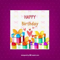 Aquarell Malvorlagen Happy Birthday Happy Birthday Karte Mit Aquarell Geschenke Kostenlose