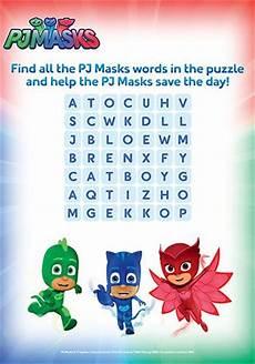 pj masks word search printable bub hub