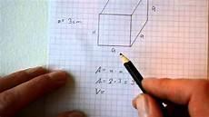Fl 228 Che Und Volumen Eines W 252 Rfel Quaders Berechnen