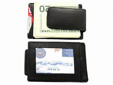 Leather Magnetic Money Clip Credit Card ID Holder Black