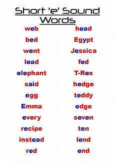 short e words short e sound words with images