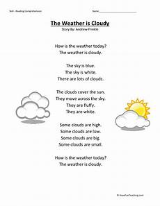 weather reading comprehension worksheets 14512 reading comprehension worksheet weather is cloudy