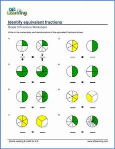 grade 3 math worksheets identify equivalent fractions k5 learning