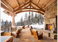 Ski lodge, outdoor fireplace   Rustic patio, Patio, Cozy
