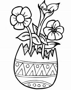 easter coloring page flowers in eggshell