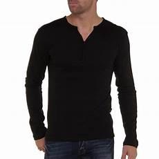 shirt homme manche longue col rond noir