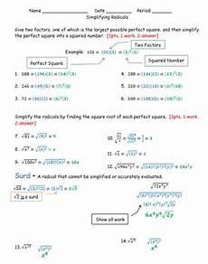 simplifying radicals worksheet hsn rn a 2 by math monkey tpt