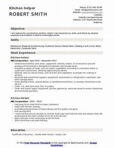 resume objective kitchen helper kitchen helper resume sles qwikresume