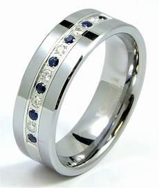 sapphire wedding rings for men diamond sapphire tungsten modern men s wedding ring band 8mm 0 25ct anniversary ebay