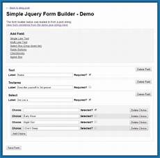 simple jquery form builder free for use in your projects