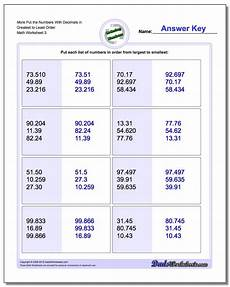 decimals greatest to least worksheets 7202 place value ordering with decimals