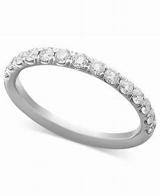 macy s pave diamond band ring in 14k white or yellow gold 1 2 ct t w in white white gold