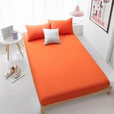 home textile orange fitted sheet bed sheets covers mattress cover protector king queen full