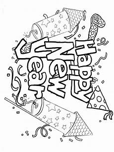 happy new year coloring pages free printable happy new