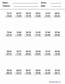 decimals worksheets math 7207 subtraction worksheets with decimals this worksheet was built to aligns to common standard
