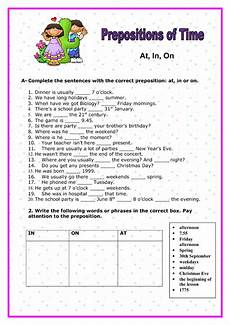 preposition of time worksheets for grade 3 3491 at in on prepositions of time elementary worksheet