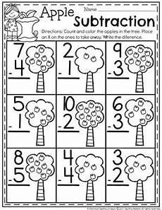 subtraction worksheets preschool apple theme preschool
