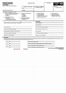 fillable form 460 recipient committee caign statement cover page printable pdf download