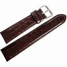 20mm Leather Band by 20mm Debeer Mens Brown Alligator Grain Leather Band