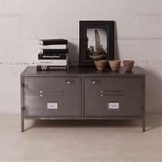 buffet bas meuble tv en m 233 tal gris 2 portes casiers style
