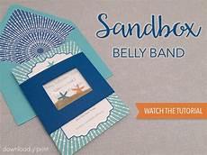 diy sandbox belly band for beach wedding invitation