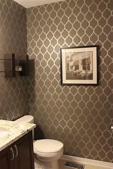 bathroom wall stencil ideas km decor powder room reveal