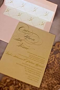 chagne and blush wedding invitations fairytale