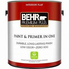 behr premium plus 1 gal ultra pure white flat zero voc interior paint and primer in one 105001