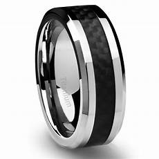 men titanium wedding rings men s titanium ring wedding band black carbon fiber 8mm