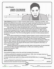 jazz greats coltrane educational music worksheets music jazz
